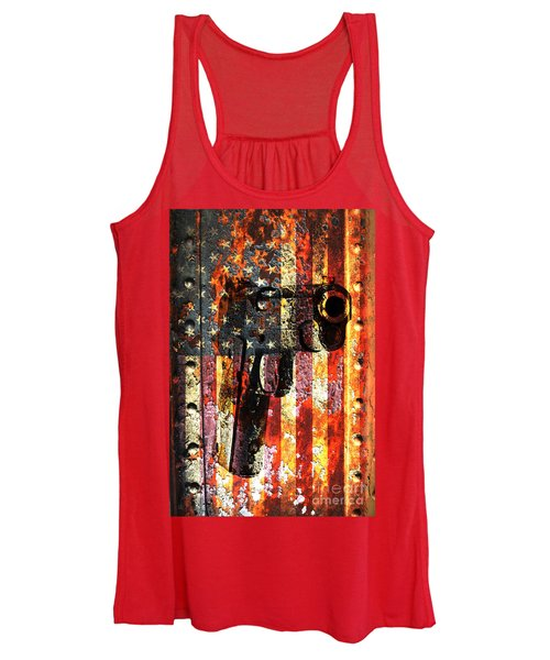 M1911 Silhouette On Rusted American Flag Women's Tank Top