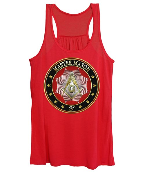 Master Mason - 3rd Degree Square And Compasses Jewel On Red Leather Women's Tank Top