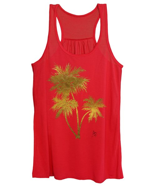 Metallic Gold Palm Trees Tropical Trendy Art Women's Tank Top