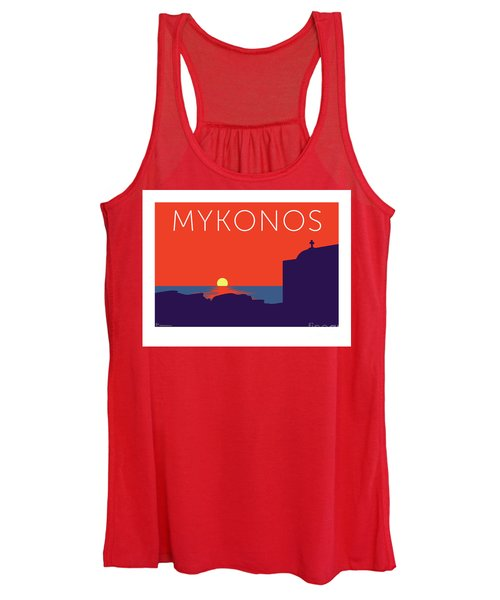 Mykonos Sunset Silhouette - Orange Women's Tank Top