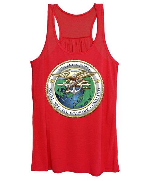 Naval Special Warfare Command - N S W C - Emblem On Red Women's Tank Top