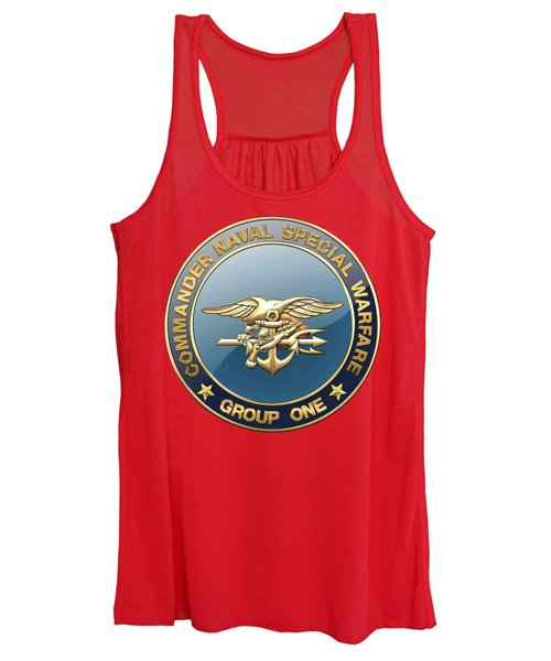 Naval Special Warfare Group One - N S W G-1 - Emblem On Red Women's Tank Top