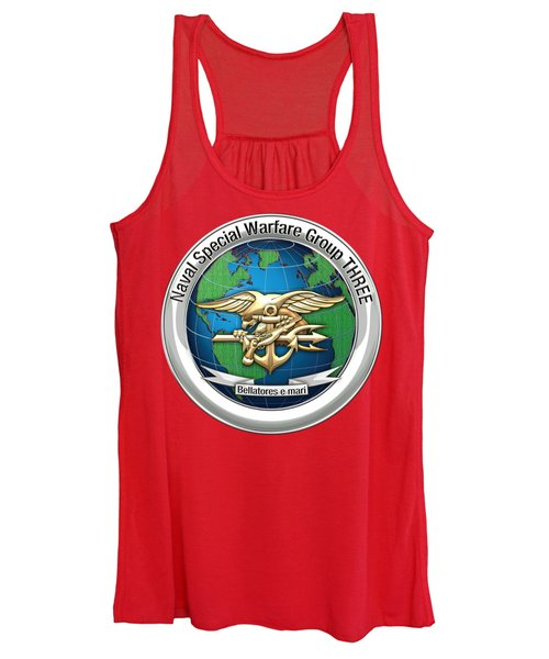 Naval Special Warfare Group Three - N S W G-3 - On Red Women's Tank Top