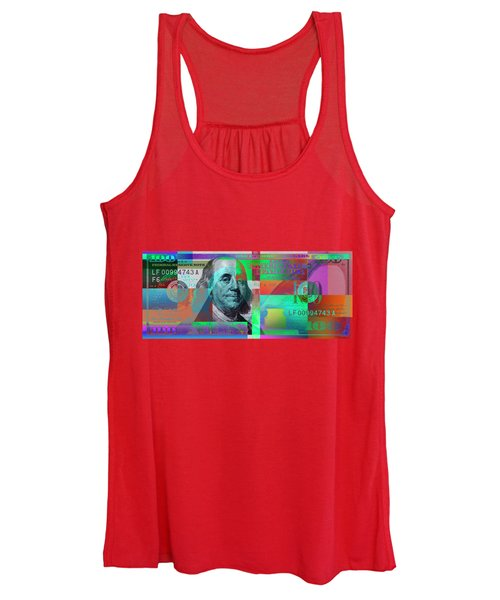 New 2009 Series Pop Art Colorized Us One Hundred Dollar Bill  No. 2 Women's Tank Top