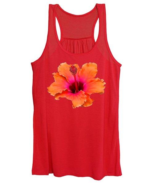 Orange And Pink Hibiscus Women's Tank Top