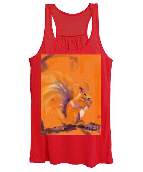 Orange Forest Squirrel Women's Tank Top