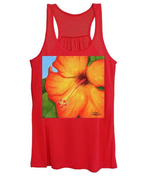 Orange Hibiscus Flower Women's Tank Top