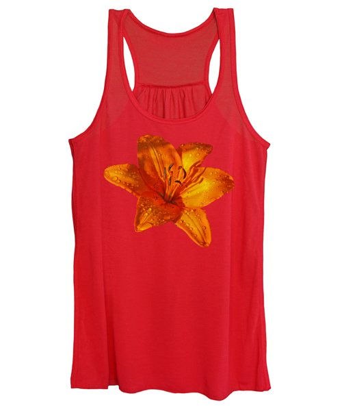 Orange Lily In Sunshine After The Rain Women's Tank Top