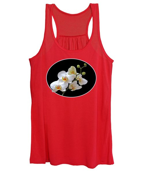 Orchids On Black And Orange Women's Tank Top