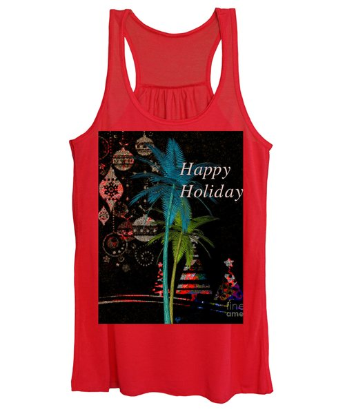 Palm Trees Happy Holidays Women's Tank Top