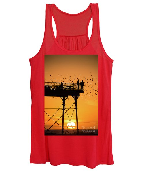 People On The Pier Sunset And Starlings In Aberystwyth Wales Women's Tank Top