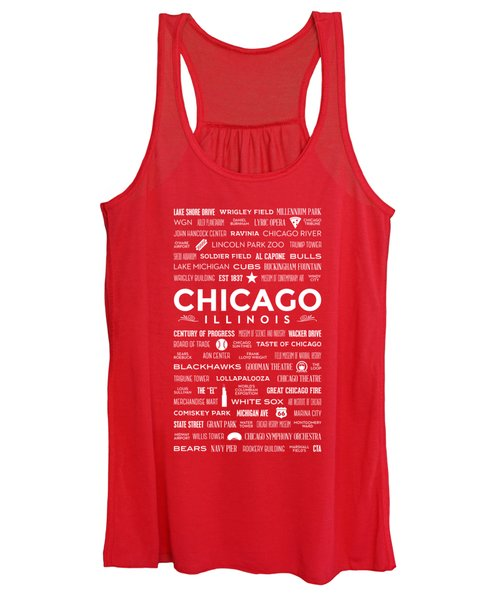 Places Of Chicago On Red Chalkboard Women's Tank Top
