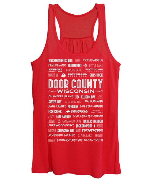 Places Of Door County On Red Women's Tank Top