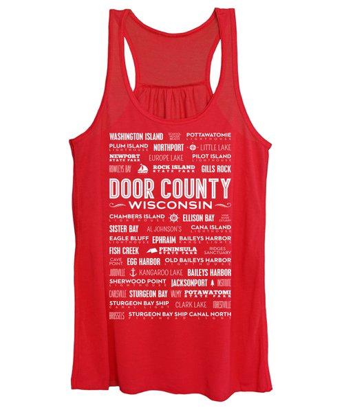 Places Of Door County On Red Women's Tank Top