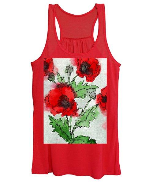 Watercolor Poppies Women's Tank Top