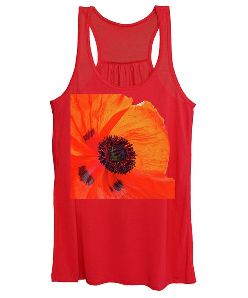 Poppy With Raindrops 2 Women's Tank Top