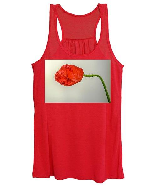 Posing Fire Red Poppy Women's Tank Top