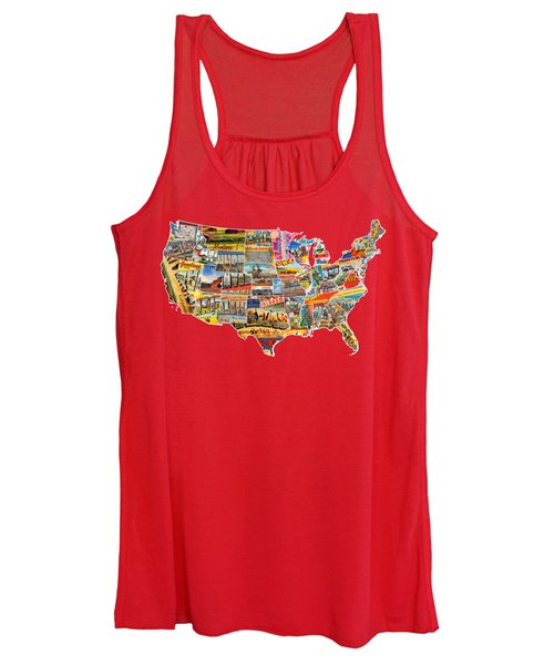 Postcards Of The United States Vintage Usa Lower 48 Map Choose Your Own Background Women's Tank Top