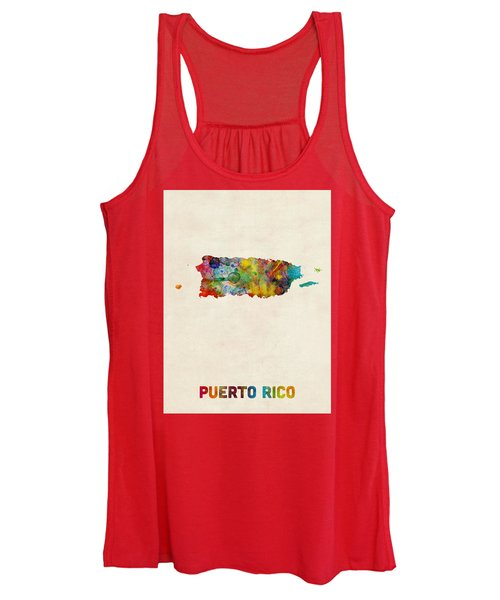 Puerto Rico Watercolor Map Women's Tank Top