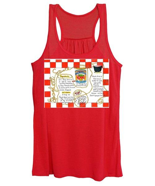 Recipe -spaghetti Sauce  Women's Tank Top