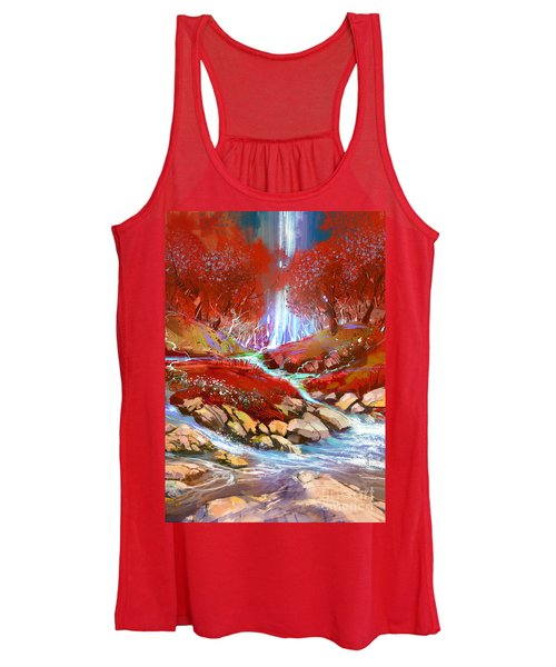 Women's Tank Top featuring the painting Red Forest by Tithi Luadthong