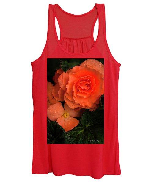 Red Giant Begonia Ruffle Form Women's Tank Top
