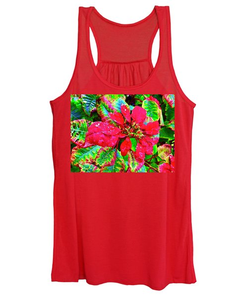 Red Hawaiian Poinsettia Women's Tank Top