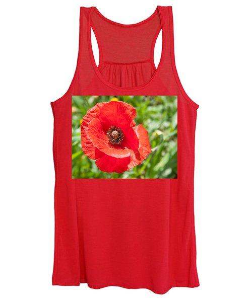 Red Poppy Flower Head Women's Tank Top