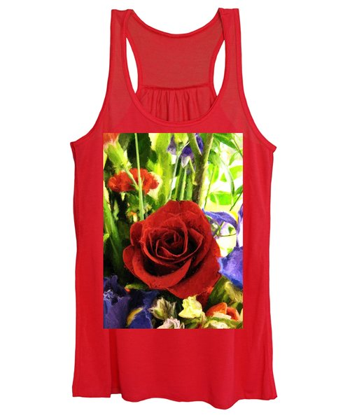 Red Rose And Flowers Women's Tank Top