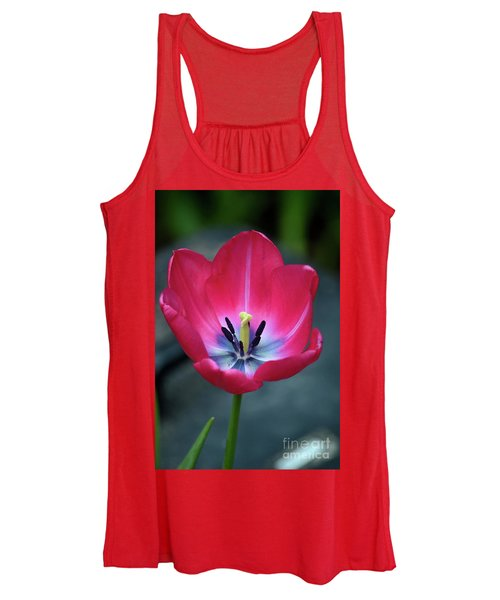 Red Tulip Blossom With Stamen And Petals And Pistil Women's Tank Top