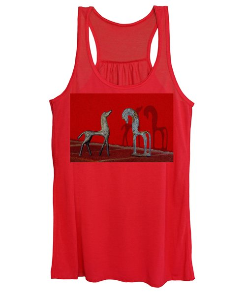 Red Wall Horse Statues Women's Tank Top