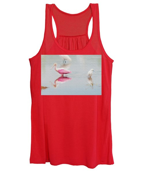 Roseate Spoonbill Eating In A Lagoon Women's Tank Top