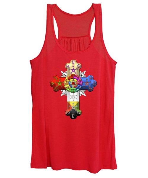 Rosy Cross - Rose Croix On Red Canvas Women's Tank Top