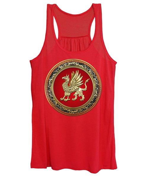 Sacred Gold Griffin On Red Leather  Women's Tank Top