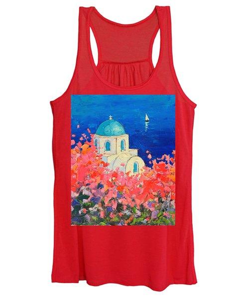 Santorini Impression - Full Bloom In Santorini Greece Women's Tank Top