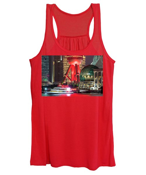 Shanghai China Downtown City Skyline At Night Women's Tank Top