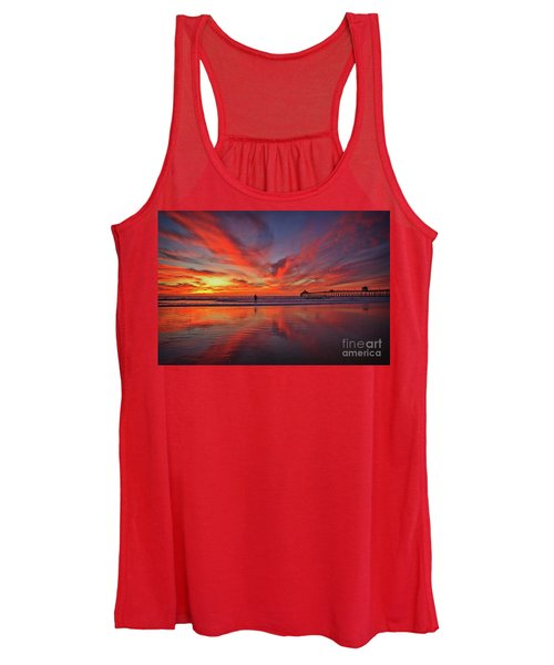 Sky On Fire At The Imperial Beach Pier Women's Tank Top