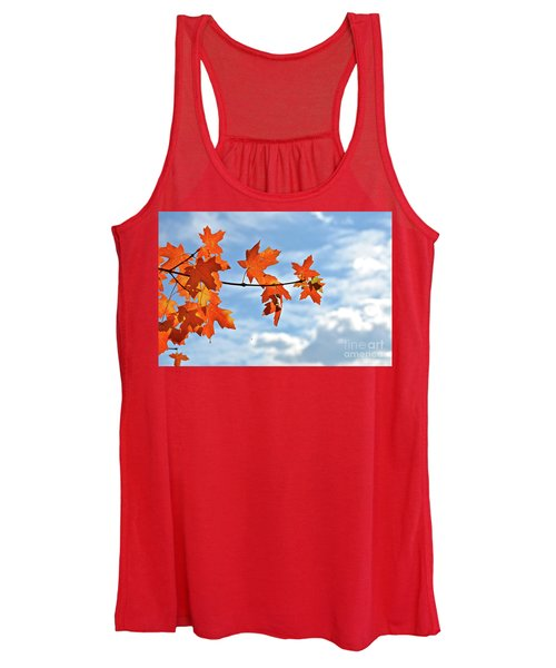 Sky View With Autumn Maple Leaves Women's Tank Top