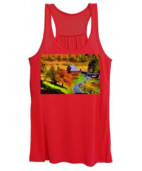 Digital Painting Of Sleepy Hollow Farm Women's Tank Top