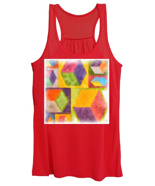 Square Cubes Abstract Women's Tank Top