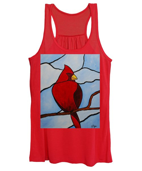 Stained Glass Cardinal Women's Tank Top