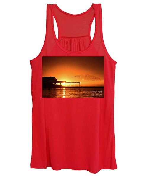 Starlings At Sunset Over Aberystwyth Pier Women's Tank Top