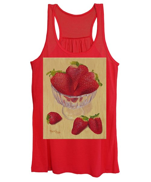 Women's Tank Top featuring the painting Strawberries In Crystal Dish by Nancy Nale