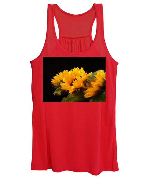 Sunflowers On A Black Background Women's Tank Top