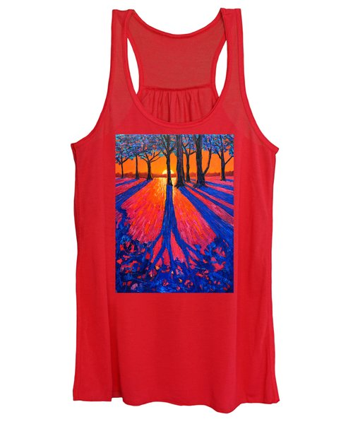 Sunrise In Glory - Long Shadows Of Trees At Dawn Women's Tank Top