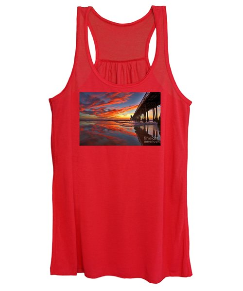 Sunset Reflections At The Imperial Beach Pier Women's Tank Top