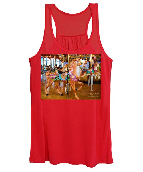 Tan Carousel Horse Impasto Painting Women's Tank Top