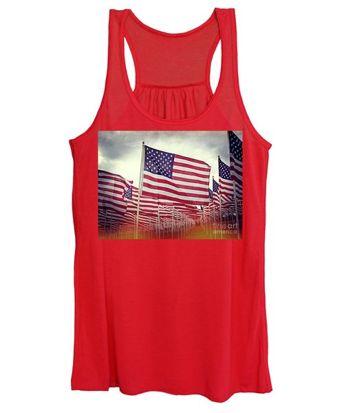 The American Flag Proudly Stands Women's Tank Top