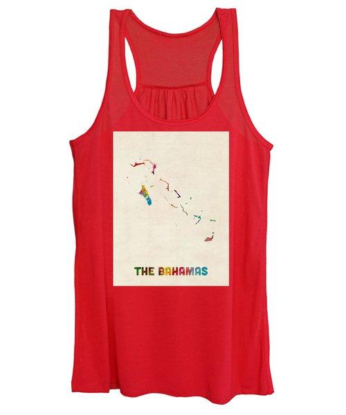 The Bahamas Watercolor Map Women's Tank Top