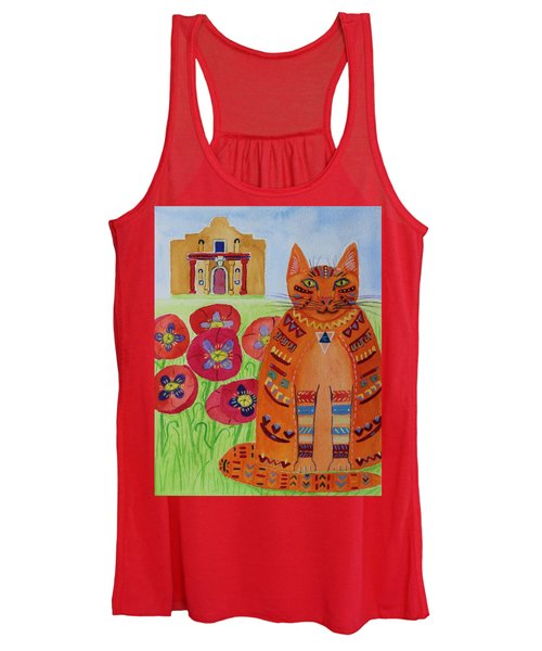 the Orange Alamo Cat Women's Tank Top